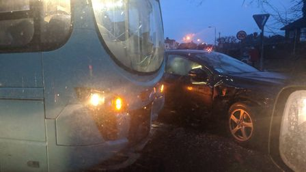 Collision between a bus and car on Gurney Road. Picture: Kevin J Murphy