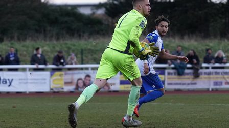 Lowestoft's Ben Dudzinski in action against Enfield Town. Picture: Shirley D Whitlow
