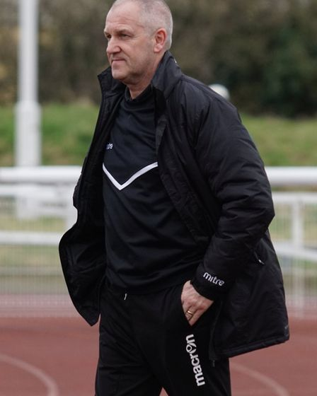 Lowestoft Town boss Dale Brooks before his side's match at Enfield Town. Picture: Shirley D Whitlow