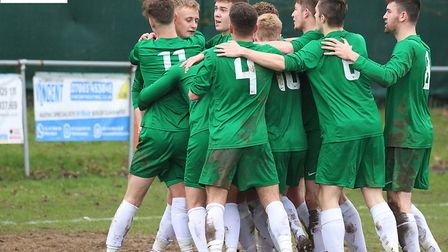 Norfolk FA Under-18s celebrate during their 3-1 win over Gloucestershire. Picture: Alan Palmer Photo