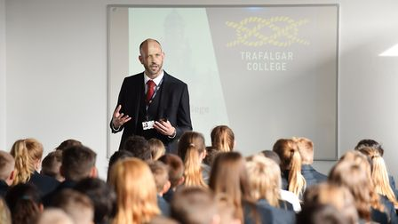 The opening day, with principal Ian Burchett, of Trafalgar College in 2016. Picture: James Bass