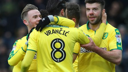 Mario Vrancic enjoys celebrating his first league goal for Norwich City, as they pip Reading at Carr