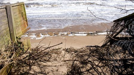 Coastal erosion is devastating homes on The Marrams in Hemsby as they now are on the cliff edge. Pic