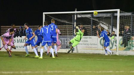 Keeper Elvijs Putnins makes a save for Lowestoft during the game against Dulwich Hamlet. Picture: Ni