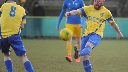 Sam Applegate came close for Norwich United at Witham. Picture: DENISE BRADLEY