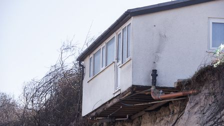 Coastal erosion is threatening homes on The Marrams in Hemsby which are now on the cliff edge. Pictu