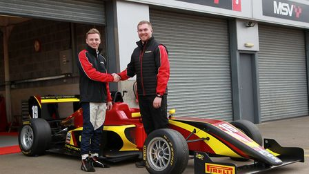 Harry Webb with team owner Chris Dittmann and the car he will use in the BRDC British Formula Three