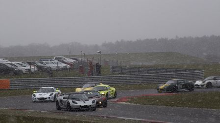 The combined Lotus Cup and Elise Trophy field trying to warm up their cars prior to the start of the