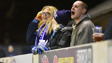 Home fans trying to encourage their team. Picture: Nick Butcher