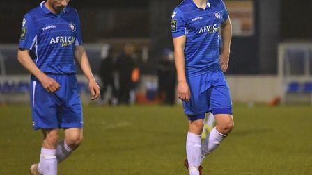 Disappointment on the night after Lowestoft lose 3-1. Picture: Nick Butcher