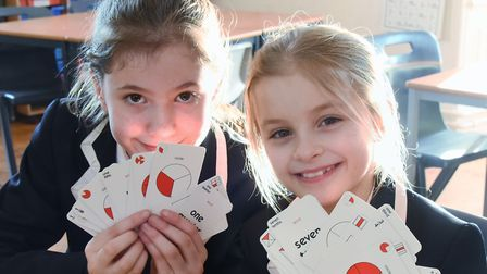 Langley Preparatory School pupils, Evie, left, and Alice, both aged nine, taking part in the Norfolk