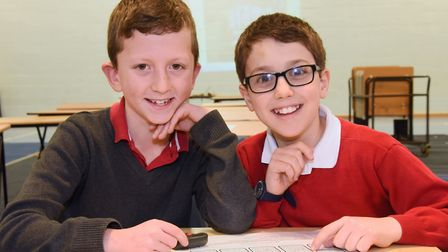Overall winners of the Norfolk Maths Challenge, Ed Marlee, ten, left, and Thomas Luccini, nine, of C