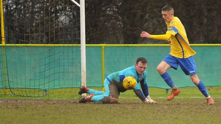 Liam Jackson doing what he does best for Norwich United - scoring goals. Picture: DENISE BRADLEY