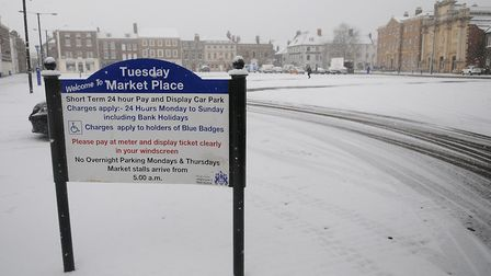 Not for drifting: The frozen Tuesday Market Place in King's Lynn. Picture: Chris Bishop