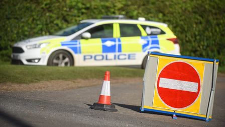 The roads were blocked in Wolferton by Police after a light aircraft crashed on the Royal Estate. Pi