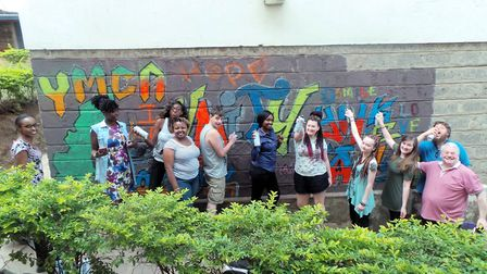 YMCA Norfolk and Kenya with a graffitti wall. PICTURE: YMCA Norfolk.
