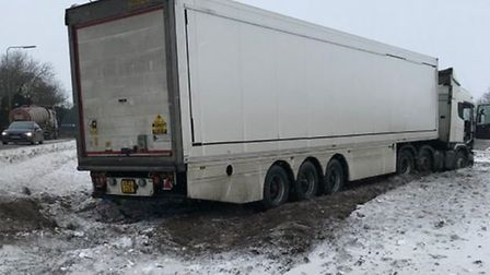 The stranded lorry on the A47 near King's Lynn. Picture: Norfolk Constabulary