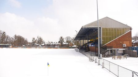 A blanket of snow covers the pitch at The Walks, home of King's Lynn Town Football Club. Picture: Ia