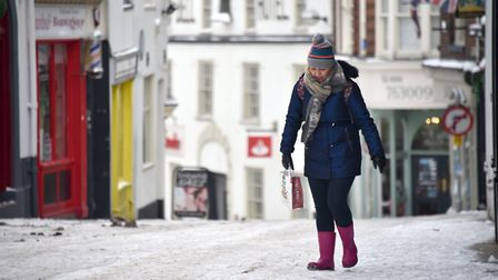 Snow in Norwich. A shopper slowly making their way up an icy Timber Hill. 1/3/2018.Picture: ANTONY K