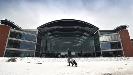 Snow in Norwich. The Forum. 1/3/2018.Picture: ANTONY KELLY