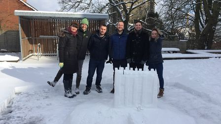 The team at LSI Architects responsible for the snow castle. From left, Rachel Harmer, Chris Soman, J