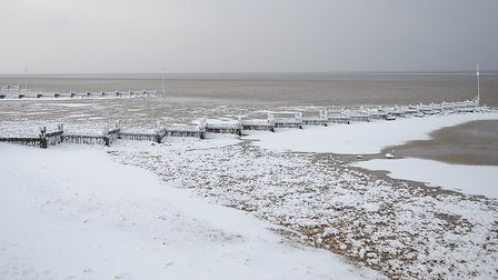 The Prom, groynes and beach at Hunstanton were left covered with snow. Picture: Chris Bishop