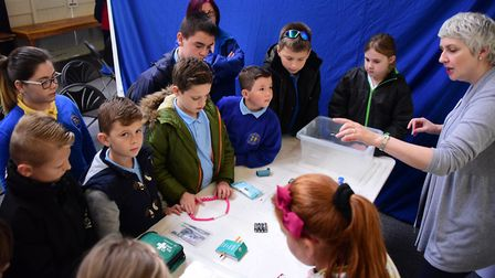 George White Junior School children learn what is needed in an Emergency Kit box during a previous C
