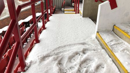 Barnsley's away end at Oakwell was covered in snow on Friday. Picture: Barnsley FC