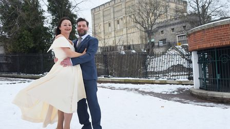 Jodie and Dan Goldsmith, newly married at Norwich Castle in a snowy wedding. Picture: DENISE BRADLEY