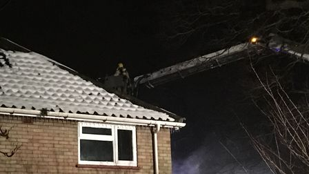 Firefighters were called to tackle a house fire in Ipswich Road. Pic: Dan Grimmer.