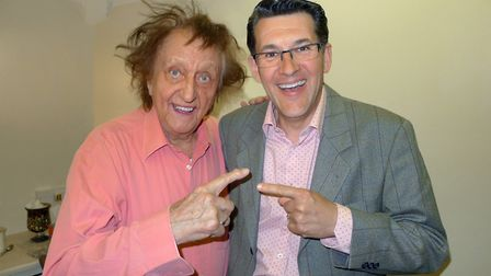 Sir Ken Dodd (left) with Norfolk entertainer Olly Day in 2013 at the Marina Theatre in Lowestoft. Pi