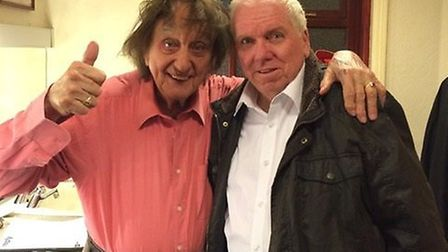 Sir Ken Dodd (left) with his friend and musical director Nigel Hogg in the Blackpool Grand Theatre.