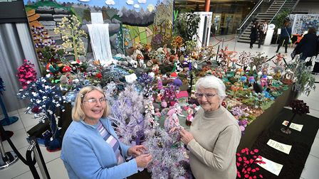 Makers' Month at The Forum in Norwich. Anne Bateman and Margaret Seaman, right, with the Enchated Wo