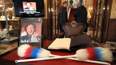 A book of condolences at Liverpool Town Hall following the death of Sir Ken Dodd who has died aged 9