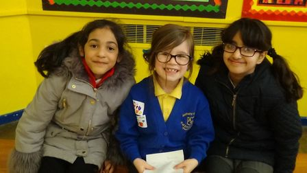 Chloe Wright (centre) with two friends from Mayflower School in Leicester. Picture: Courtesy of Anth
