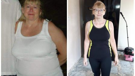 Norwich mum Susan grey before (left) and after (right) losing more than 4st with Weight Watchers. Ph