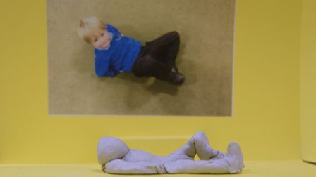 Ashleigh Primary School pupil Jez Bullen's sculpture and photograph based on the work by Henry Moore