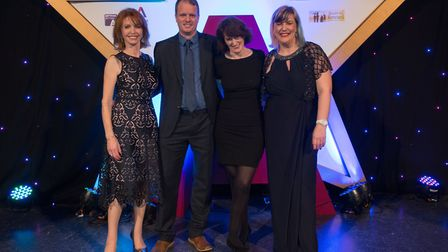 From left to right are Jane Asher, president of the National Autistic Society; Matthew Swindells, Ne