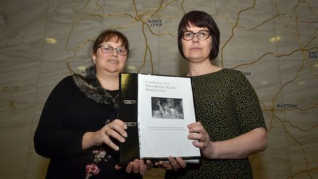 Jessica Kibble, left, and Claire Clarke hand a petition to County Hall to save Morley House Respite