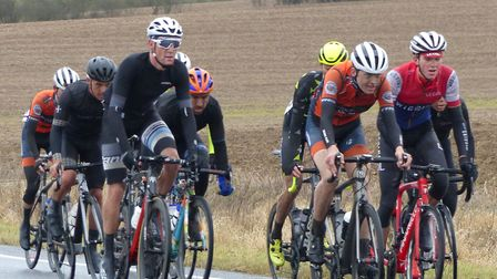 A suffering group including Kenninghall rider Tom Fitzpatrick (white glasses) at the Jock Wadley Mem