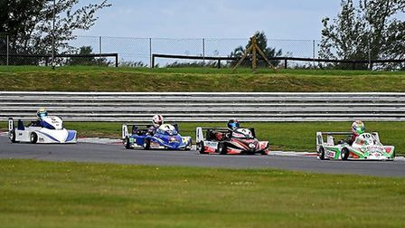 Close action during last year's August kart meeting at Snetterton. Picture: Nick Purdie