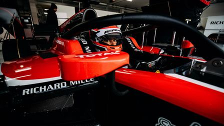 The view George Russell has from his new ART Formula Two race car for the season ahead. Picture: Mal