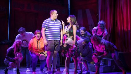 Neil Hurst and Natalie Anderson in Kay Mellors Fat Friends the Musical. Photo: Helen Maybanks