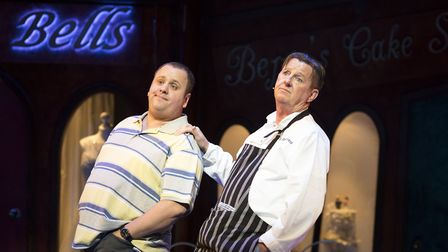 Neil Hurst and Kevin Kennedy in Kay Mellors Fat Friends the Musical. Photo: Helen Maybanks.