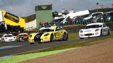 Harry King on his way to victory in the Ginetta Junior race at Knockhill last year for Elite Motorsp