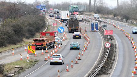 Earlier roadworks on the approaches to the Pullover Roundabout. Picture: Ian Burt