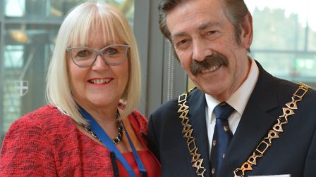 Lorraine Bliss, chief executive of the St Ed's Society, and John Ward, Norfolk County Council chairm