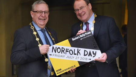 Norfolk Day supporters, Lord Mayor of Norwich David Fullman, left, and Sheriff, David Walker. Pictur
