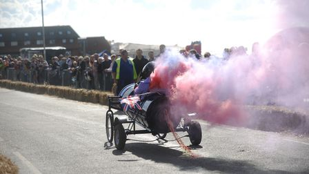 Hundreds lined the streets to watch the Soap Box Derby through Hunstanton Heritage Gardens. Picture: