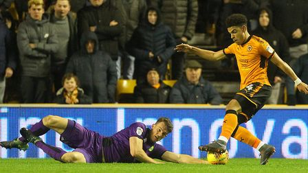Christoph Zimmermann put his body on the line at Molineux. Picture: Paul Chesterton/Focus Images Ltd